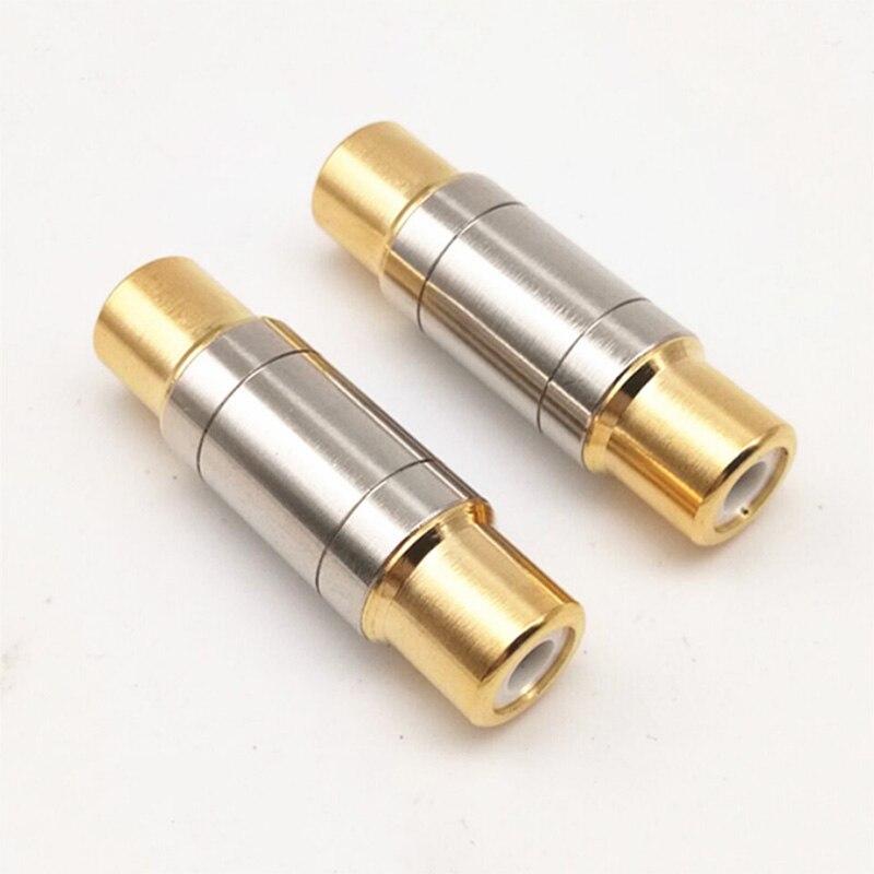 Adaptador de tomada dupla rca 2, pçs/lote, de alta qualidade, fêmea rca, soquete adaptador, dourado, extensor de cabo de alto-falante
