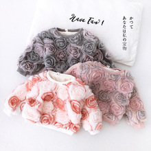 New Sweet Girls Flowers Thicken T shirt Autumn Winter full sleeve Cotton Fashion Girls Sweatshirt