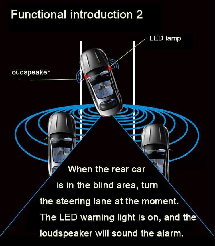 Sistema Universal de monitoreo de puntos ciegos para coche BSM microondas 2 sensor de radar 2 indicador LED 1 Detección de alarma cambio de carril Assit - 3