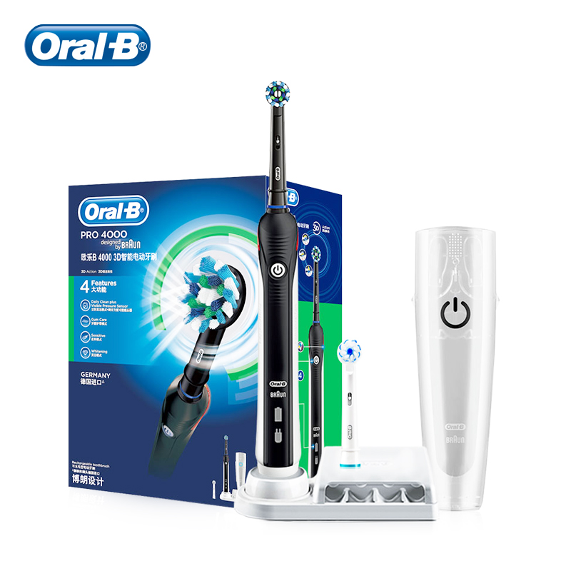 Oral B 3D Sonic Electric Toothbrush PRO 4000 Adults Rechargeable Portable Teeth Whitening Gum Massage Effective and Safe Brush image