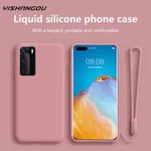 Płynny silikonowy miękki pasek na rękę uchwyt Case dla Huawei P40 Pro P30 P20 Mate 30 Lite P inteligentny Z Plus Y9 Prime 2019 Honor 10X 9X 8X