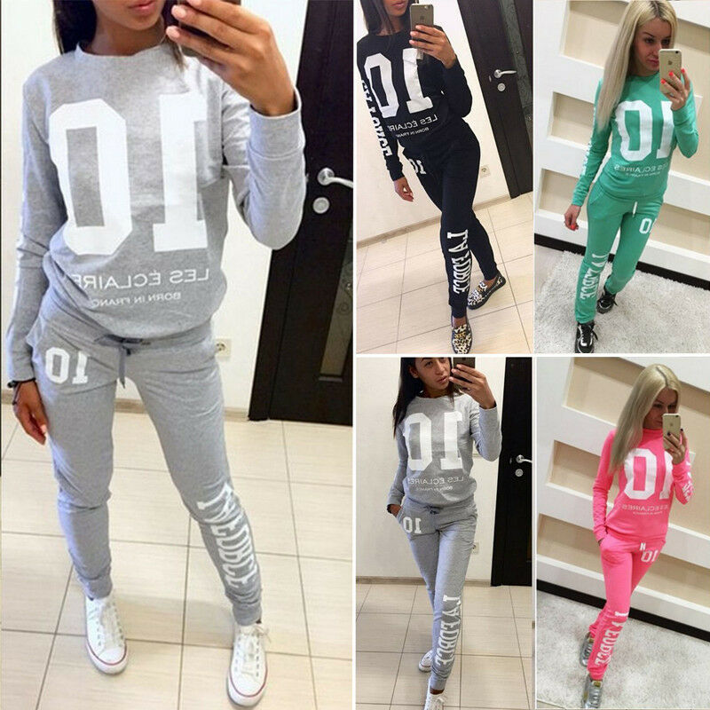 Fashion Women Ladies Stylish Letters Printing Long Sleeve Hoodies Long Pants Trousers 2PCS Tracksuit Lounge Wear Outfits Set