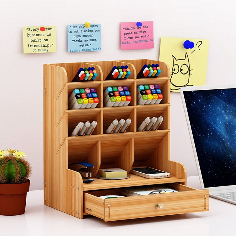 Multifunctional Wooden 13 Grid Desktop Bracket Pen Holder Pencil Storage Box Pencil Pen Makeup Brush Jewelry Display Stand