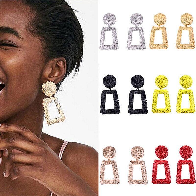 Fashion Statement Earrings2019 Big Geometric Round Earrings For Women Hanging Dangle Earrings Drop Earring Modern Female Jewelry