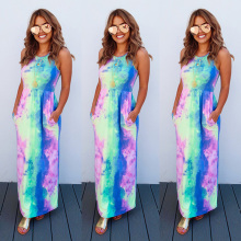 Fashion Summer Women Long Dress Tie Die Print Sleeveless lady clothing
