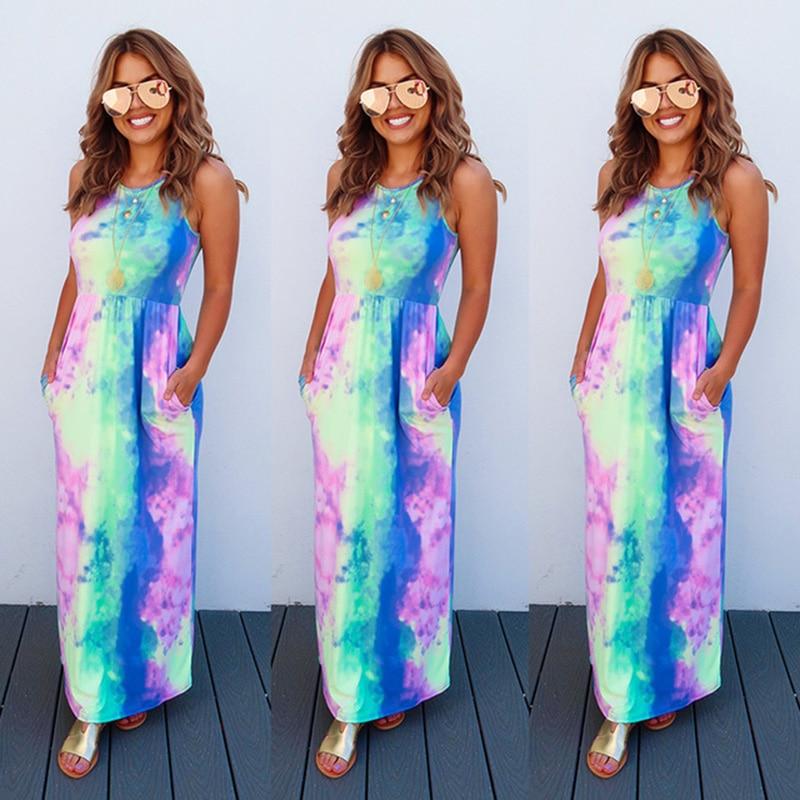 Fashion Summer Women Long Dress Tie Die Print Sleeveless lady clothing