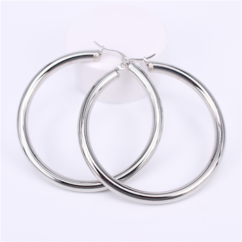 Stainless Steel Hoop Earrings Earrings Jewelry Women Jewelry Metal Color: Steel 60MM Round