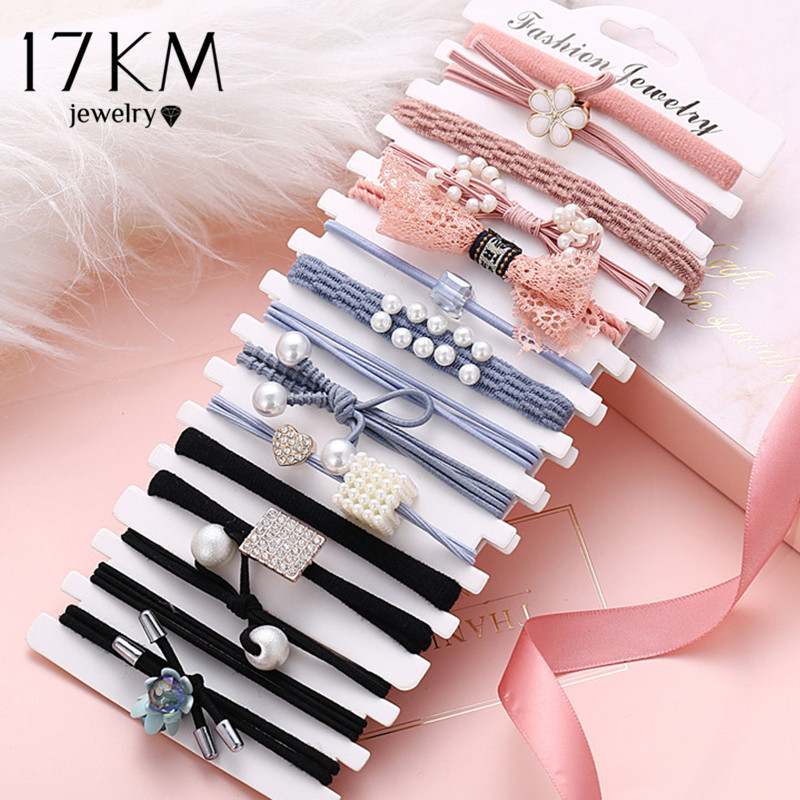 17KM 3pcs/set Pearl Flower Basic Elastic Hair Bands For Girls New Pink Tie Gum Scrunchie Ring Rubber Bands Hair Accessories 2020