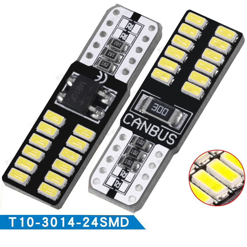 <font><b>10PCs</b></font> <font><b>T10</b></font> LED <font><b>CANBUS</b></font> 3014 24 SMD Car Interior Lights W5W/194 168 Cars Clearance Light Auto Source Bulb Backup Lamp White image