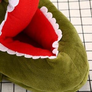 Image 3 - Mulheres unisex casa quente chinelos engraçado anime peixe crocodilo dos desenhos animados ovelha plana chinelo feminino algodão inverno sapatos de pelúcia meninas