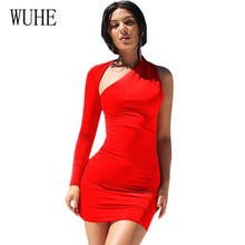 WUHE One Shoulder Long Sleeve Irregular Hollow Out Sexy Bandage Bodycon Dress Women Elegant Casual Banquet Red Party Vestidos