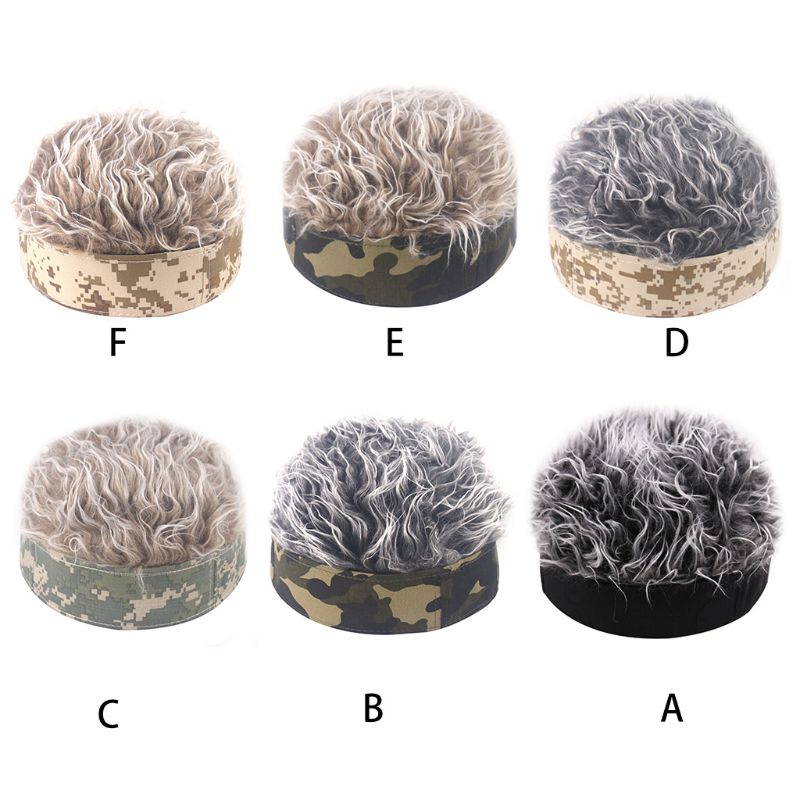 Women Men Hip Hop Camouflage Brimless Beanie Cap with Funny Spiky Fake Hair Wig Vintage Melon Landlord Skull Hat Cosplay