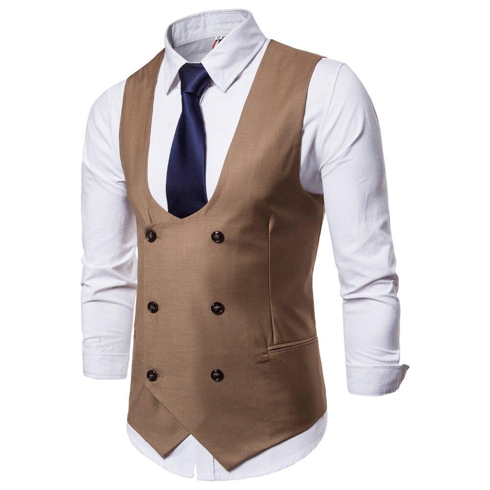 Suit Vest Waistcoat Men U-Collar Colorful Blazer British-Style Men's Casual Pure-Double-Breasted