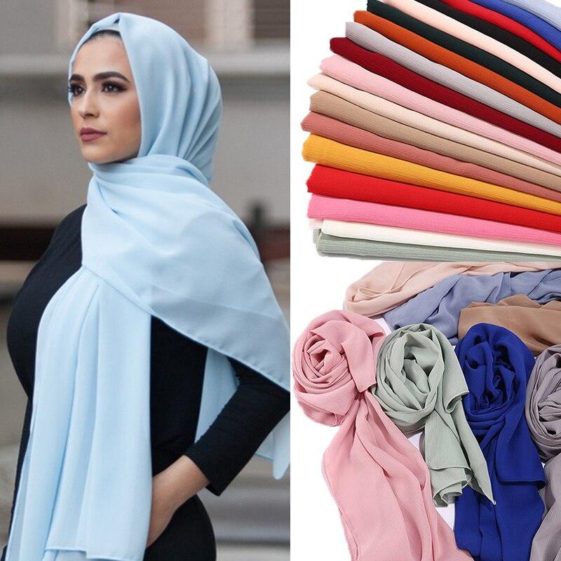 Chiffon hijab feminino simples bolha chiffon cachecol hijab envoltório impressão cor sólida xales bandana muçulmano hijabs cachecóis cachecol