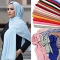 Шифон хиджаб для женщин плотная пузырь шифоновый шарф хиджаб накидка с принтом одноцветные шали повязка на голову мусульманские хиджабы ша...