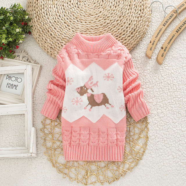 Children Christmas Sweater Girl Round Neck Sweaters Boy Little Deer Clothes 1-4 Years Baby Autumn Clothing Kids Warm Tops 3