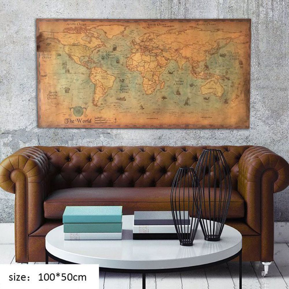 Nautical Poster Ocean Sea World Map Retro Old Art Paper Painting Decoration Home Wall Office Supplies 100*50cm