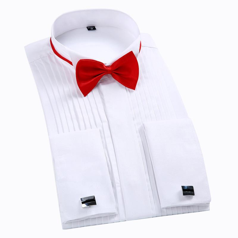 White Men Tuxedo Shirt Regualr Fit Plus Size French Cufflinks Long Sleeve Luxury Wedding Party Male 6xl