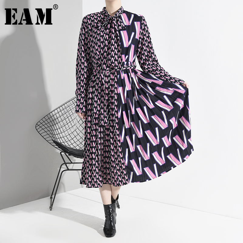 [EAM] Women Pattern Print Split Midi Dress New Bow Collar Neck Long Sleeve Loose Fit Fashion Tide Spring Autumn 2020 A872