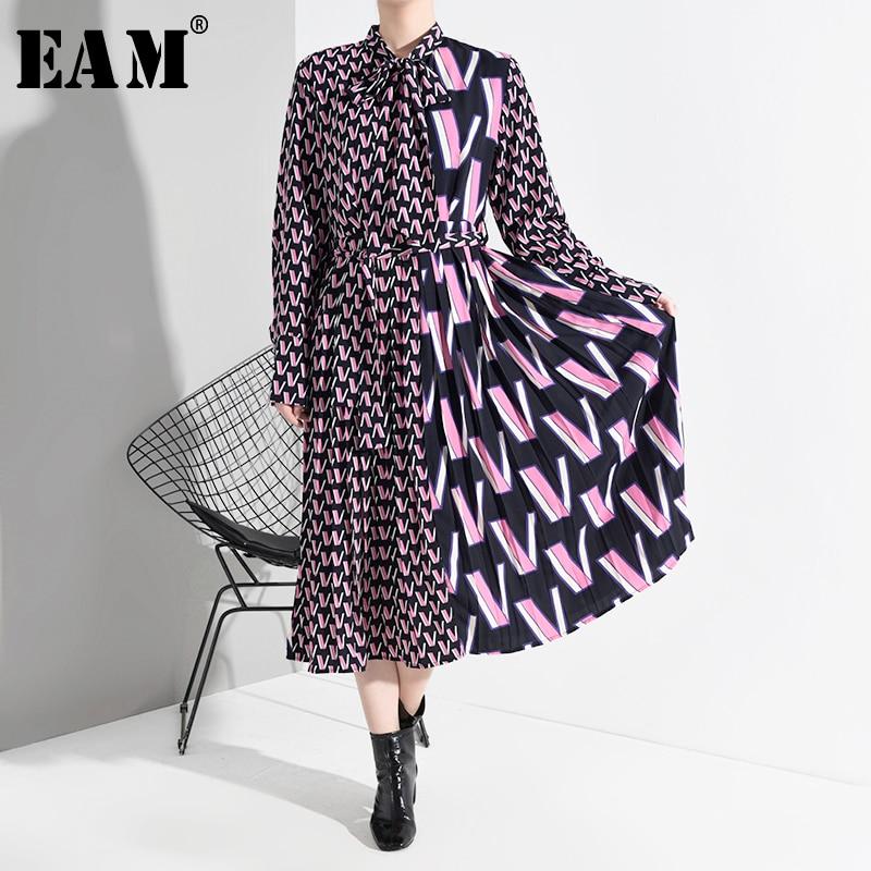 [EAM] Women Pattern Print Split Midi Dress New Bow Collar Neck Long Sleeve Loose Fit Fashion Tide Spring Autumn 2020 A872