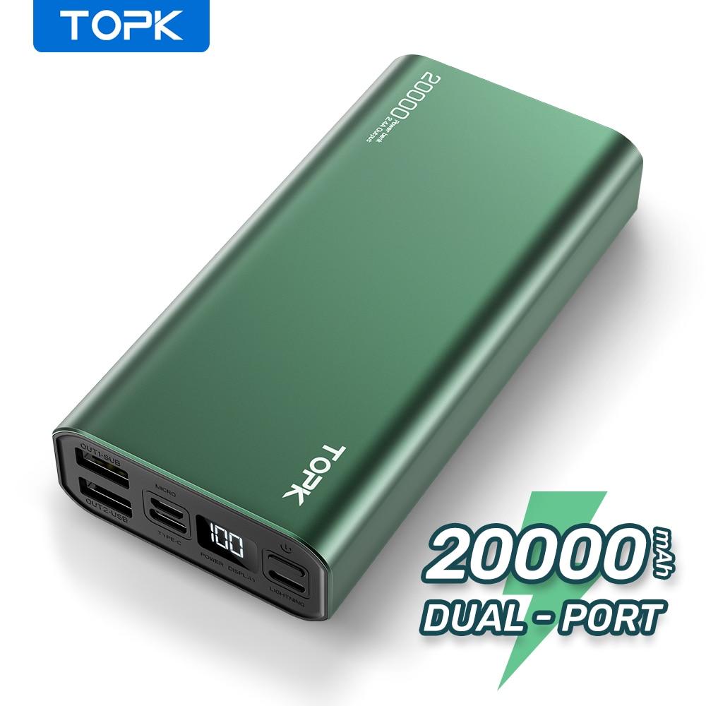 Batterie externe de charge portative de la batterie 20000 mAh de puissance de TOPK 20000 mAh pour liphone 12 Xiaomi Mi