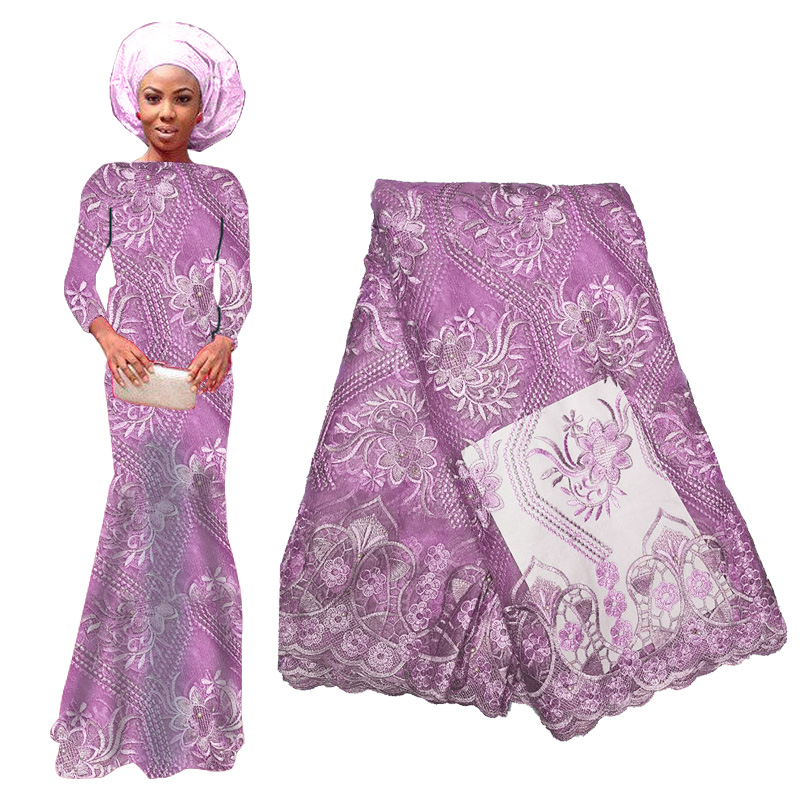 2019 Luxury African Tulle Lace Fabric High Quality Beads Flower Embroidery Swiss Voile Lace Nigerian Lace Fabric For Party Dress