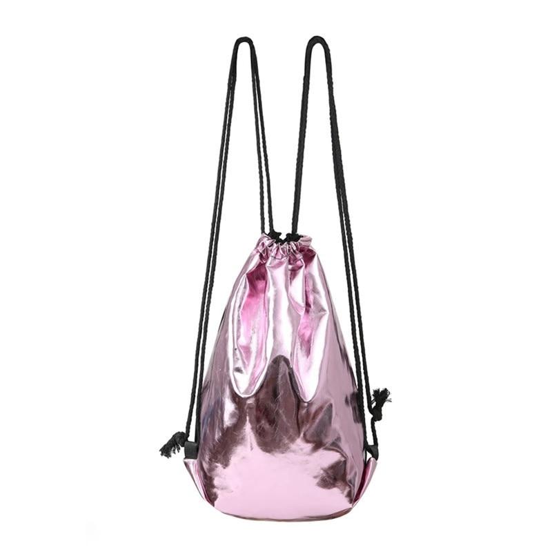 Reversible Shining PU Drawstring Big Capacity Fashion Travel Backpack Organizer Lightweight Bag