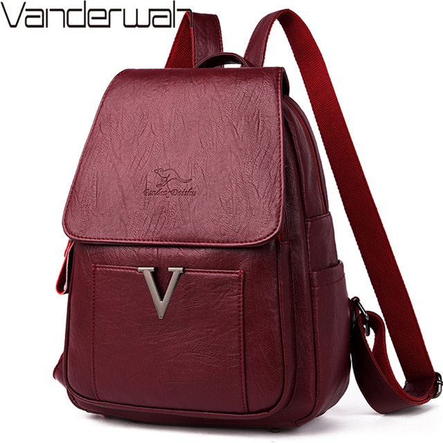 New V Letter Women Genuine Leather Backpacks Female Sac Travel Back Pack Ladies Bagpack Mochilas School Bags For Teenage Girls