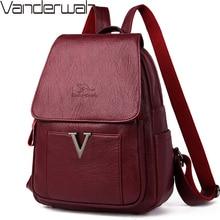 Yeni V mektup kadın hakiki deri sırt çantaları kadın kesesi seyahat sırt çantası bayanlar sırt çantası Mochilas okul çantaları genç kızlar için