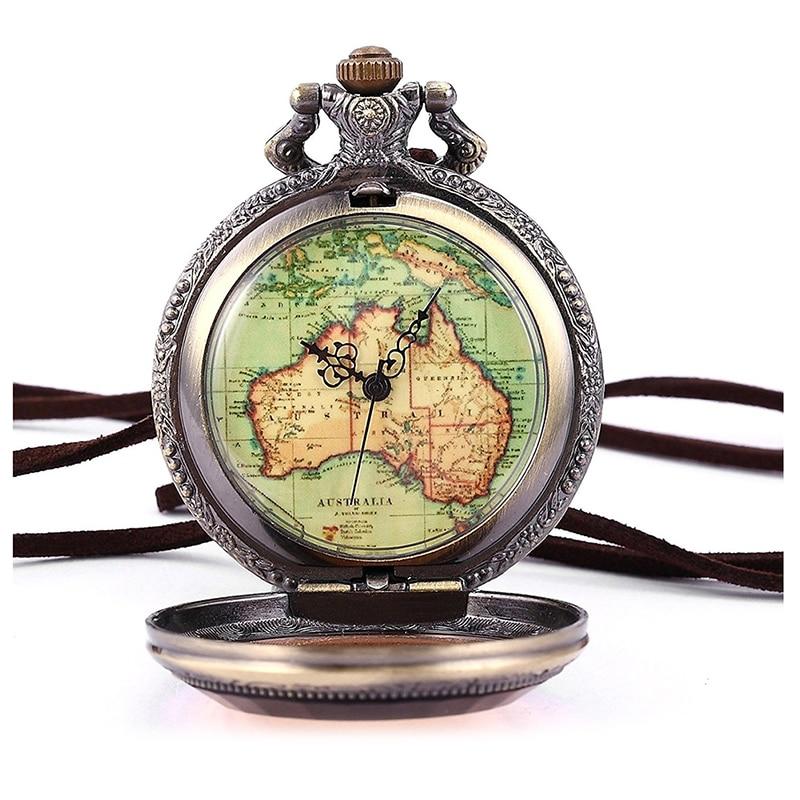 New Australia Map Pocket Watch Analog Quartz Watch Bronze Chain Watch Unisex
