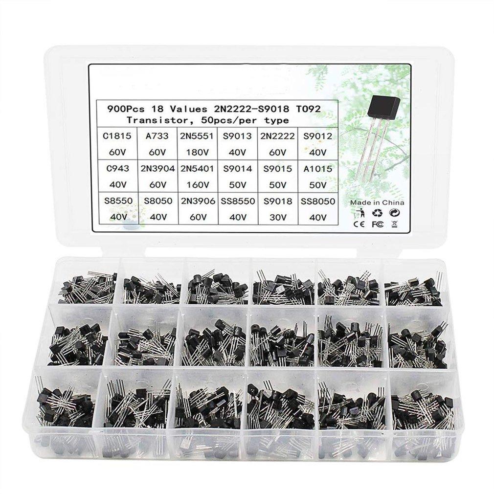 18 Values 900pcs NPN PNP Transistor TO-92 Power Transistor Assortment Kit Transistor Pack Three Pin Transistors