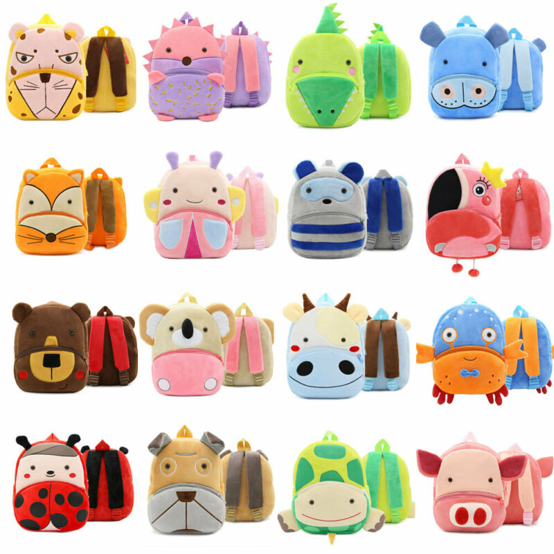 Child Lovely Mini Animal Backpack Baby Kids Cartoon Plush Backpack Baby Toy Soft Schoolbag Shoulder Bag Gifts Outdoor Travel Bag