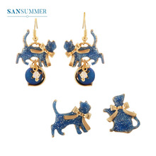 Sansummer 2019 New Fashion Cute Cat Blue Star Personality Pendant Bow Romantic Japanese Style Stud Earrings For Women Jewelry