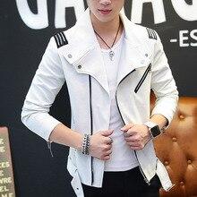 Мужская кожаная куртка весна молодой случайный лацкане локомотив pu кожаная куртка Корейская версия Slim-Fit