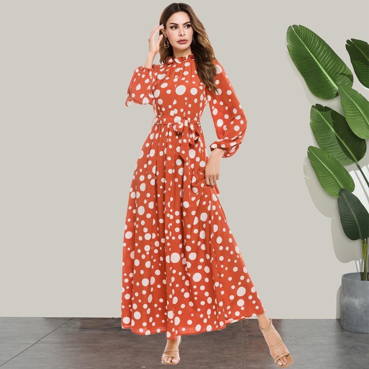 Moroccan Kaftan Muslim Women Dress Long Sleeve Pa-line Abaya Boho Vestidos Eid Ramadan Islamic Clothing Print Plus Size Robe