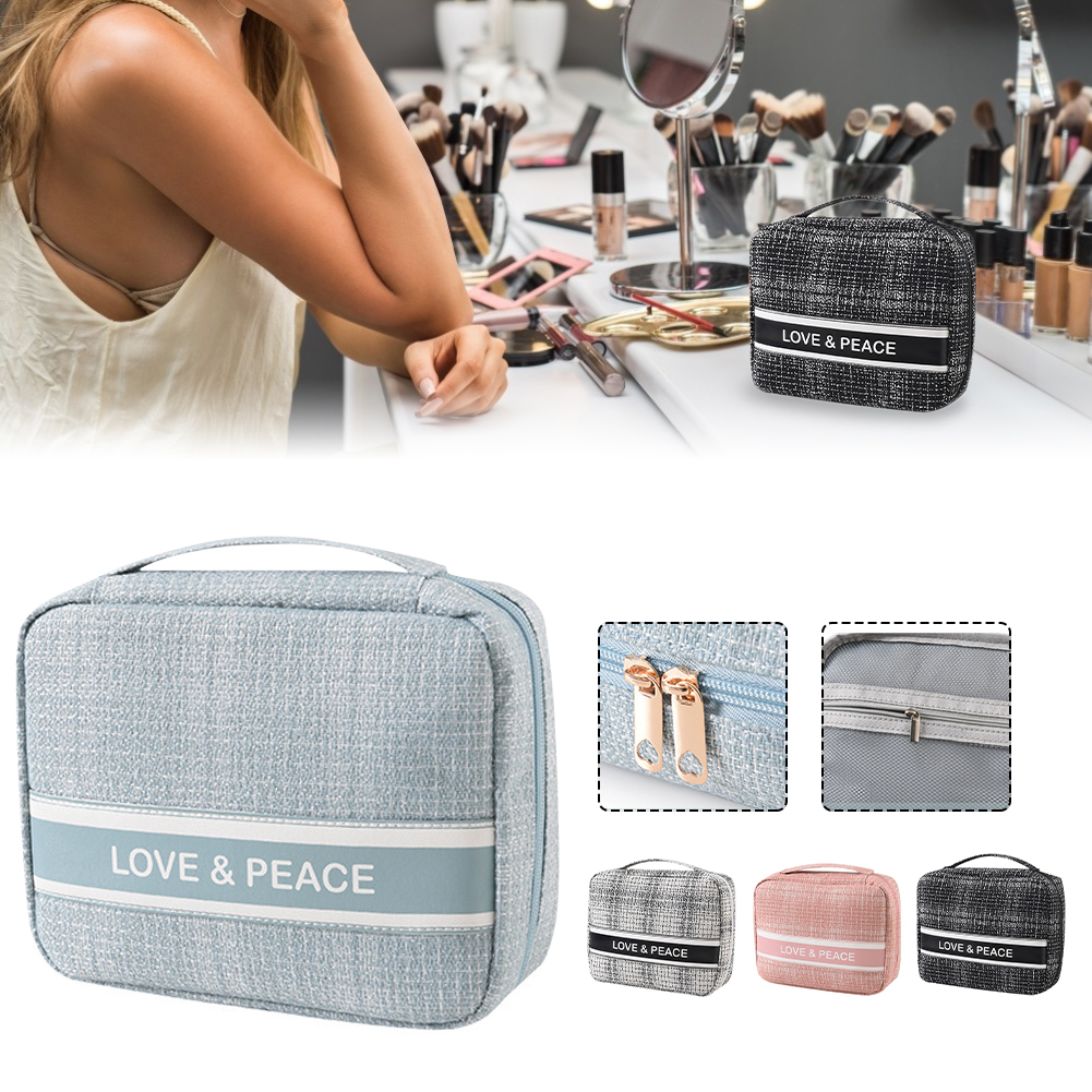 Portable Makeup Bag Travel Cosmetic Bag Polyester Zippered Makeup Brush Toiletry Bag Multi-function with Handle