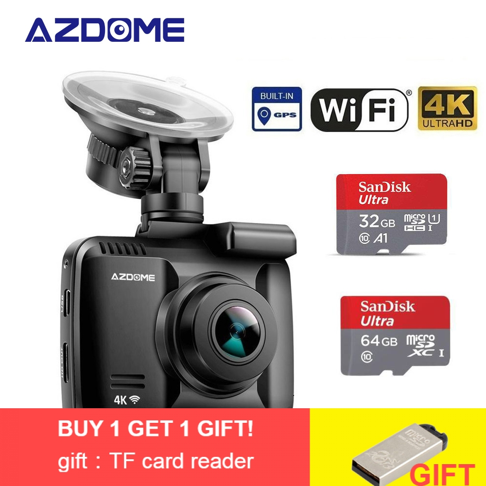 AZDOME Car Dvr Car-Camera Dashcam Gps-Wifi Night-Vision-Camera Dual-Lens 4K WDR Built-In