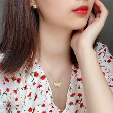 High quality fashionable and simple Korean sterling silver 925 gold butterfly necklace jewelry for women's birthday party anniv