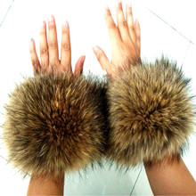 2016 Fox Raccoon Fur Fashion Wool Cuffs Cuff Wrist Decorative Hair Cap Strip