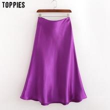 Toppies-faldas de satén moradas para mujer, faldas por debajo de la rodilla, de cintura alta, color sólido, ropa de calle