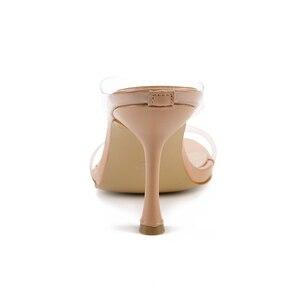 Image 4 - Kcenid Neue PVC transparent hausschuhe frauen high heels sommer hausschuhe flip flops für frauen sexy karree klar sandalen schuhe