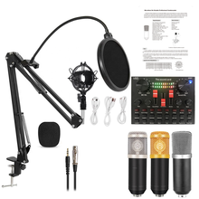 Bm800 microfone com v8s placa de som bm 800 microfone condensador profissional para gravação computador podcast tiktok