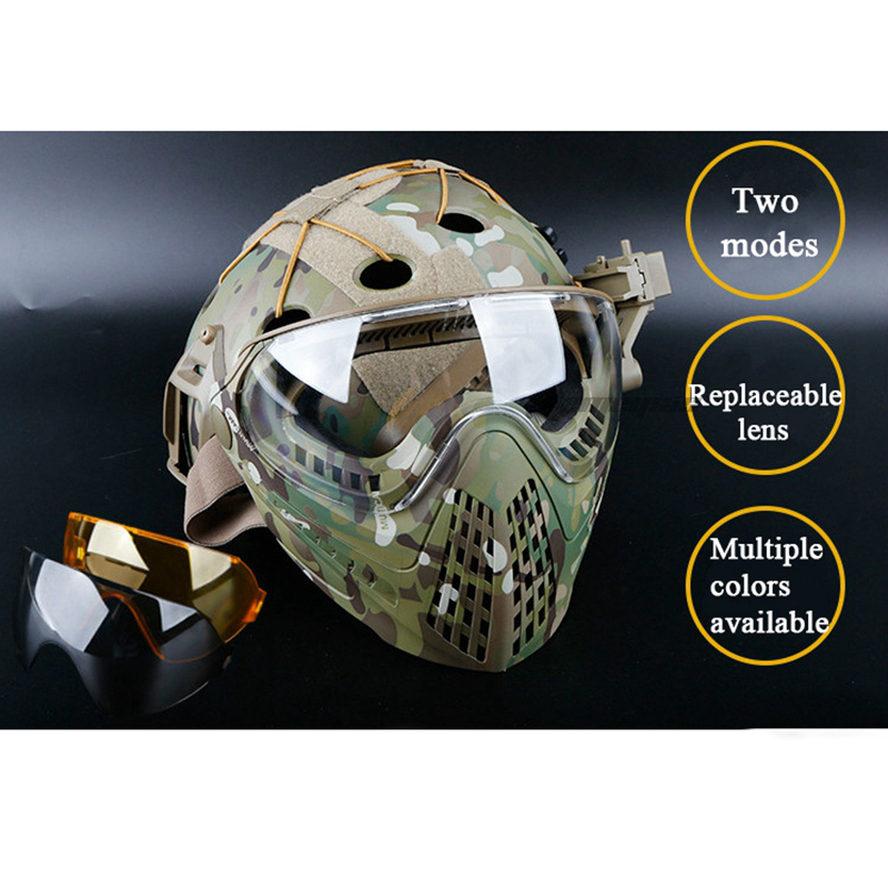 Camouflage Tactical Mask Airsoft Paintball Shooting Combat Masks Hunting Safety Goggle Full Face Mask With 3 Lens