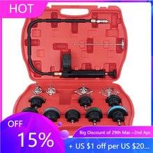 범용 자동차 라디에이터 압력 테스터 키트 14PCS 자동차 누출 감지기 도구 자동 냉각 시스템 냉각수 진공 퍼지 풀 세트
