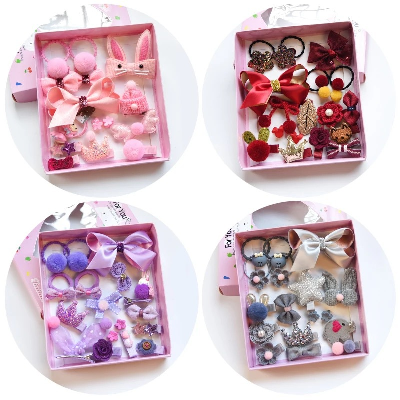 18PC/1BOX Children's Series Luxury Suit Princess Elastic Hair Bands Hair Grips Lovely Baby Gift Girls Hair Accessories HeadWear