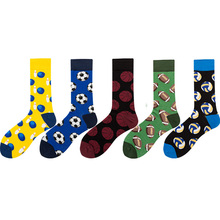 Autumn Winter Happy Socks For Men Personality Cartoon Football Rugby Pattern Breathable Sweat-Absorbing Cotton
