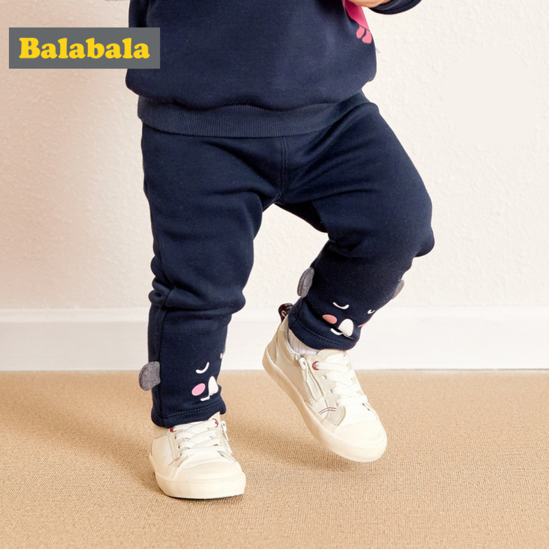 Balabala Infant Baby Girl Fleece-Lined 3D Bear Pull-on Pants Newborn Babys PP Pants Joggers Trousers Elastic Waist For Winter