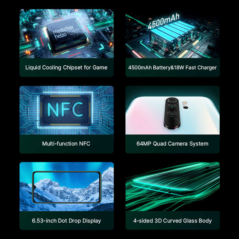 Global Versie Xiaomi Redmi Note 8 Pro 6Gb Ram 64Gb Rom Smartphone 64MP Quad Camera Mtk Helio G90T octa Core 4500Mah Nfc