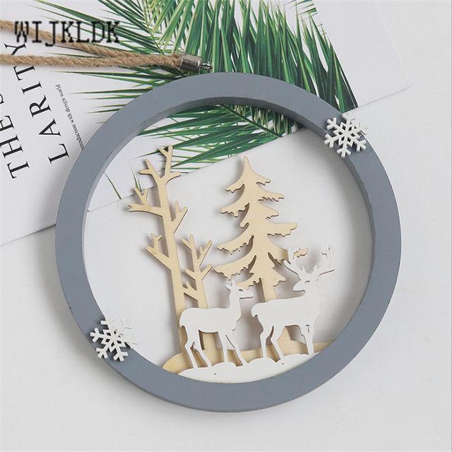 Christmas Ornaments Wooden Round Elk Pendant Christmas Decorations Hanging Christmas Tree Decoration Pendant New Year Navidad-S 17