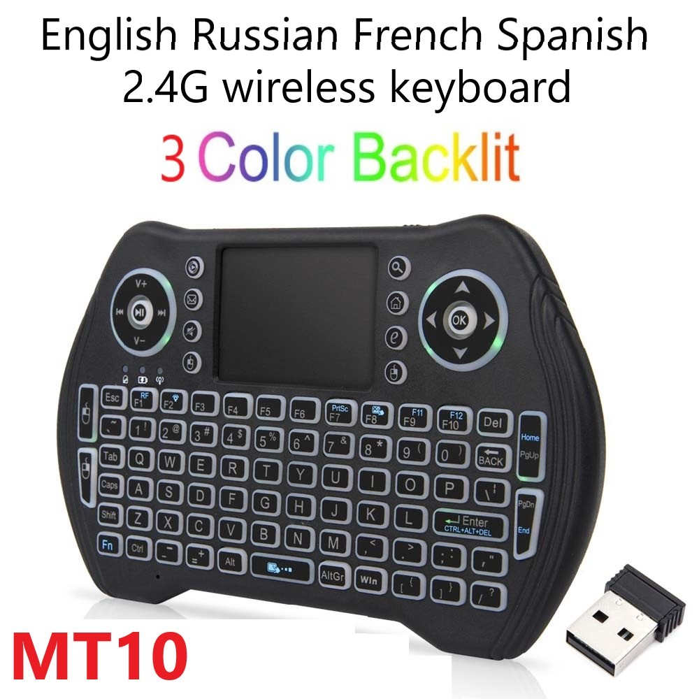 MT10 Air Mouse Russian English French Spanish 3 Colors Backlit 2.4G Wireless Touchpad For Android TV BOX  Wireless Keyboard